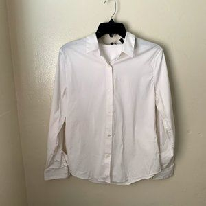 Theory Shirt White Cotton Blend Button Down Casual